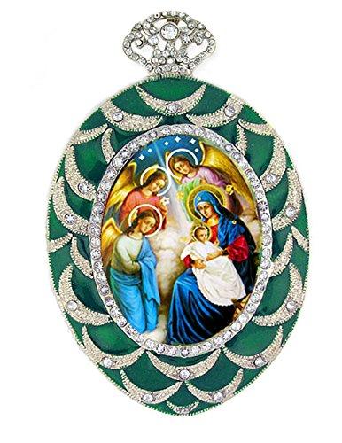 Edelsteinbesetztes Krippe Icon Anhänger Religiöse Weihnachten Ornament 10,2cm