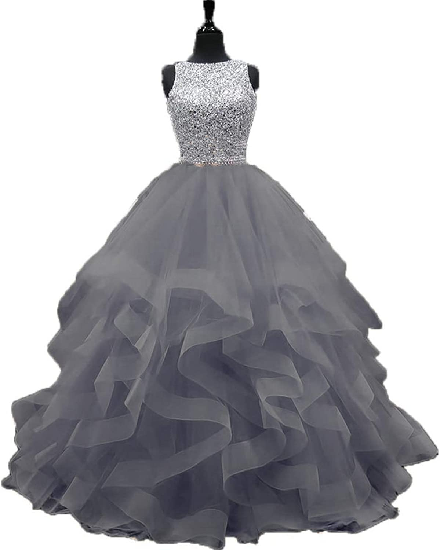 Ruiyuhong Women's Beaded Prom Dresses Long Formal Prom Ball Gown