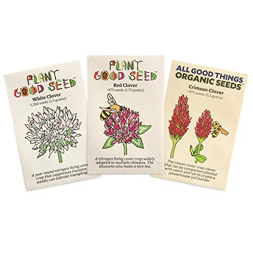 Clover Seed Collection (Three Packets): Crimson, Red, White: Certified Organic, Certified Organic, Non-GMO Seeds from The United States
