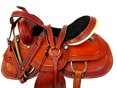 Custom Leather Classic Tooled 15 16 17 Western Horse Trail Barrel Saddle Pleasure (15)