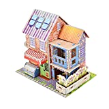Fine Romance 3D DIY Puzzle Castle Model Cartoon House Dollhouse for Girls Doll House Building Kit for Kids - Educational Paper Jigsaw Puzzles Perfect Craft Toys Gift (B)