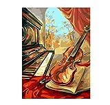 Chen Hao International Sales Store Hermoso violín Fotos Pintura por números Lienzo Pintado a Mano Dibujo de Dibujos Animados DIY Pintura al óleo por números Regalo niño niña Estudiante-2