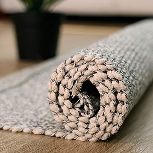 Z&H A Mano-Tessuto Lino di Cotone Nappe Tappeti, Lavabile in Lavatrice Tappeto Camera da Letto Salotto Tappetino del Piede Tatami Strisciare del Bambino Pad-Grigio 90x150cm(35x59inch)