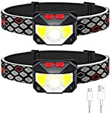 Soft Digits Headlamp Rechargeable, 2-Pack LED Headlight 1100 Lumens USB Head Lamp Flashlight, 8 Modes Head Light, Waterproof Headlamps with Motion Sensor for Outdoors Camping Fishing (2 Pack, Black)