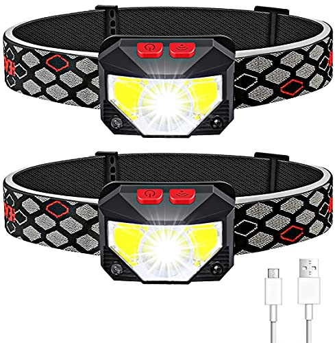 Soft Digits Headlamp Flashlight, 2-Pack LED Headlight 1100 Lumens USB Rechargeable, 8 Modes Work Light, Waterproof Head Lights with Motion Sensor Built in Batteries for Outdoors (2 Pack, Black)