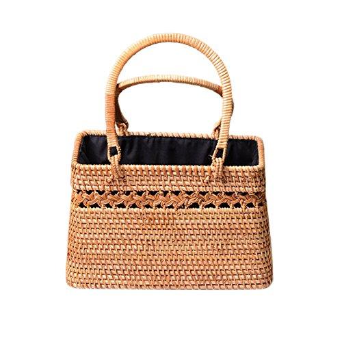 XGZ Rotan tas, vakantie handtas dames strotassen zomer strandtas kaki shopper Bohemia schoudertas
