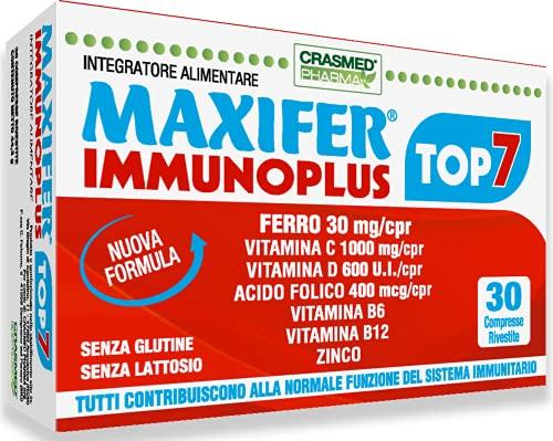 Crasmed Pharma Maxifer Immunoplus Top 7 Ferro Integratore Multivitaminico con Vitamine C Vitamina D Vitamina B 6 Vitamina B12 Zinco Ferro Integratori Stanchezza per il sistema immunitario 30 Compresse
