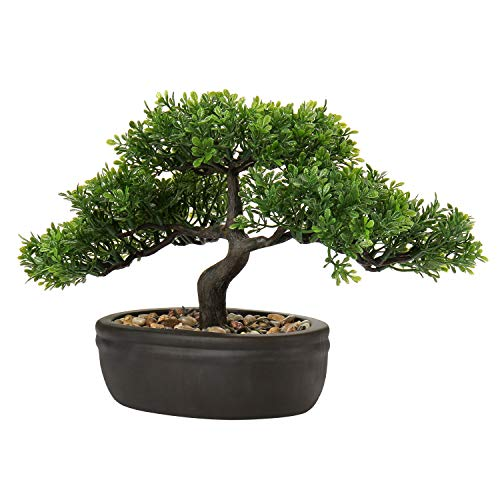 U/S Bonsai Tree, Fake Plants Ceramic Potted Tree Artificial Japanese Cedar Bonsai Tree Decoration for Home Desk Office Bathroom Kitchen Farmhouse Indoor/Outdoor (Bonsai Tree #04)