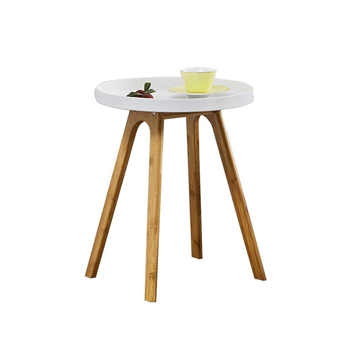 発掘ダメージケニアサイドテーブル、ラウンドV-足白いソファサイドテーブルベッドサイドトレイ表コーヒーテーブルリビングルームのベッドルーム14.7x18.1inchのために使用される4本の天然竹の足で lsmaa