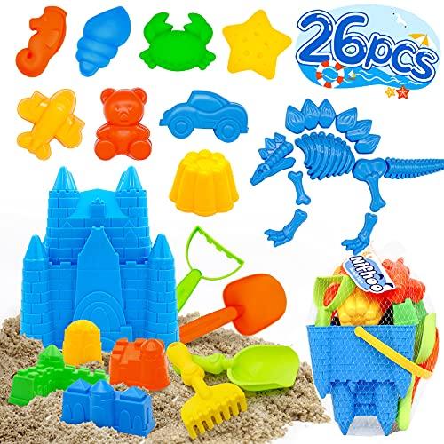 Nifhoo 26 Pcs Beach Toys, Quality Sand Toy Set, Sand Molds Sandbox Toys Kit for Kids, Castle Bucket, Dinosaur, Shovels & Rakes, Animal Molds, for 3 4 5 Year Old Girls Boys Outdoor Indoor Play Gift.