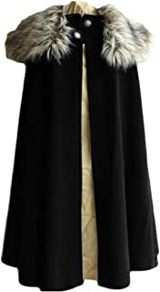 Macondoo Men's Fall Winter Overcoat Steampunk Cape Cloak Goth Trench Coat