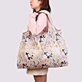 Yywl - Bolsa de algodón con dibujos animados, reutilizable, plegable, bolsa de viaje con bolsa, tamaño grande, ecológico, portátil, de poliéster