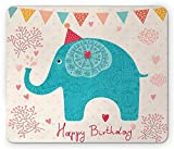 Elephant Mouse Pad, Cheerful Cartoon Festive Birthday Party Theme Flowers Hearts and Dots Pattern, Standard Size Rectangle Non-Slip Rubber Mousepad, 9.8 X 11.8 Inch