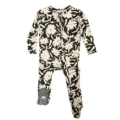 Bungalow Baby Bamboo Zip-Up Footed Onesie-Premium Bamboo Viscose Baby Boy, Baby Girl, Unisex (0-3, 3-6, 6-9 Months)