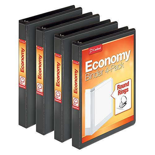 Cardinal Economy 3 Ring Binder, 1 Inch, Presentation View, Black, Holds 225 Sheets, Nonstick, PVC Free, 4 Pack of Binders (79512)