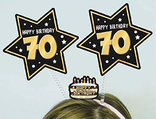 Haarband met antennes 70 jaar - accessoires feesttent 70e verjaardag