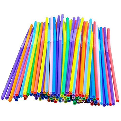 xue binghualoll 100 Stück Plastik Strohhalme, Farben Strohhalme aus Kunststoff, ohne BPA Flexibel Trinkhalme Plastik Trinkhalme, für Party, Bar, Getränkegeschäfte, Cocktail