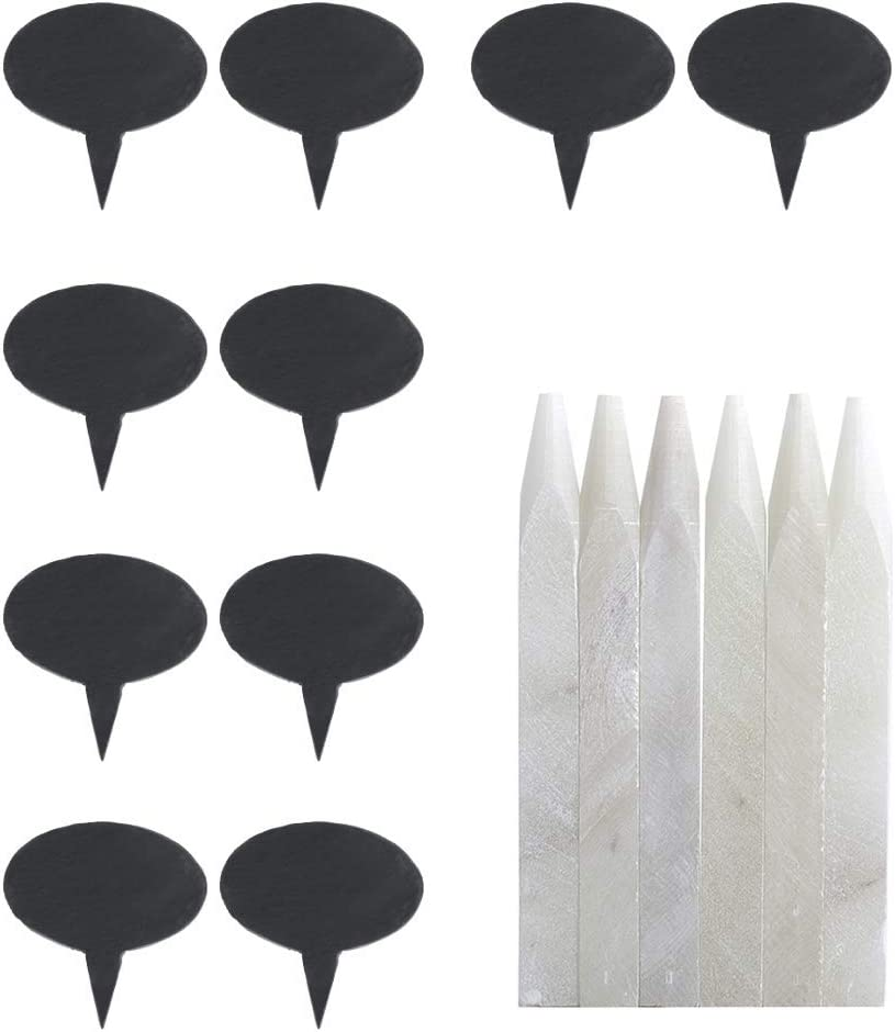 Ranking TOP7 20 Black Ranking TOP10 Slate Cheese Markers Round Cha with pencils Decor