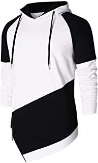 Men's Pullover Hooded Sweatshirt,Man Autumn Spring Patchwork Long Sleeve Hoodies Sweatshirt Blouse Shirt