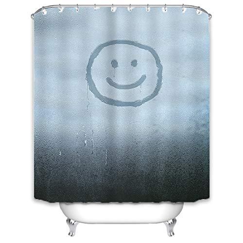 X-Labor Regen Duschvorhang 240x200cm Wasserabweisend Stoff Anti-Schimmel inkl. 12 Duschvorhangringe Waschbar Badewannevorhang 240x200cm Muster-D