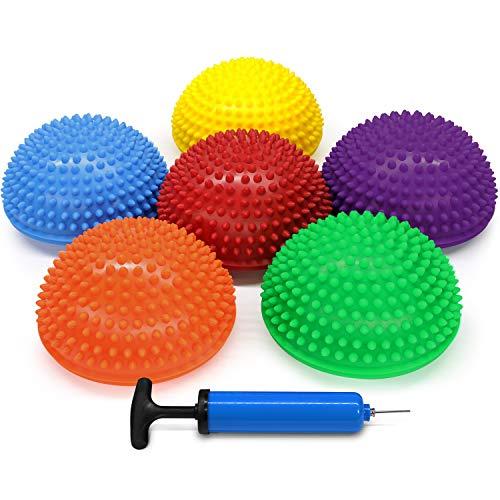Yes4All Balance Pods Hedgehog with Hand Pump – Sensory Stepping Stone for Children, Kids – Hedgehog Balance Pods/Balancing Pods (Set of 6)