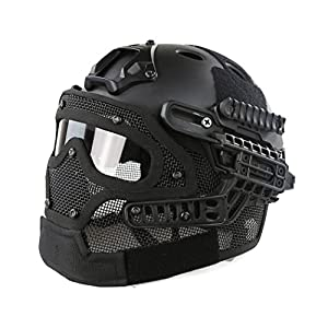 Simways PJ Type Fast Molle Tactical Helmet with Facial Protection System for Airsoft Paintball Live CS and Other Outdoor Activities Free Size (Black)