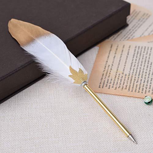 XKMY Bolígrafo de plumas creativas de lujo con plumas coloridas de 0,5 mm, bolígrafos de escritura, publicidad en la oficina (color: blanco, color de tinta: negro)