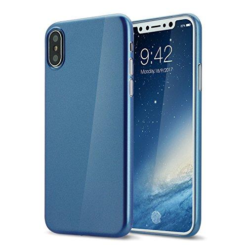 Custodia di iPhone X,UltraSlim Case per Apple iPhone X sottilissimo la più sottile duro custodia protettiva del mondo Mat semi transparente Copertura Cover per iPhone X 5.8 pollici risplendente blu
