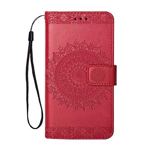 iPhone X/iPhone XS Hülle, SONWO Premium Prägung Mandala PU Lederhülle Flip Brieftasche Hülle Cover Schale Ständer Etui Wallet Tasche Case Schutzhülle für Apple iPhone X/iPhone XS, Rose Rot