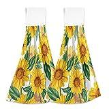 Toallas de cocina de girasol amarillo, 2 unidades, secado rápido, súper suave, absorbente, para colgar, toalla para cocina, baño, inodoro, hogar, 30,5 x 43,2 cm