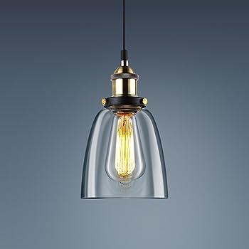 KINGSO E27 Lampe Suspension Vintage Lustre Rétro Industrielle Abat Jour en Verre Ampoule Suspendue Luminaire Plafonnier avec Douille et Fil pour