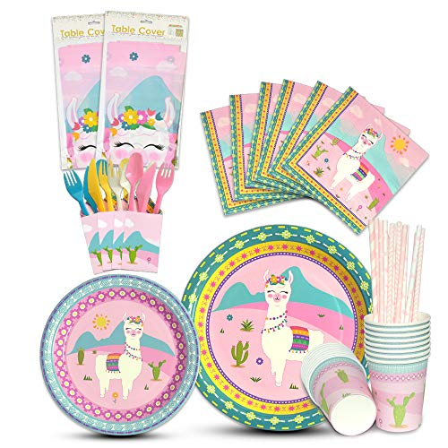 WERNNSAI Llama Tableware Set - Alpaca Pink Party Supplies for Girl Kids Birthday Baby Shower Includes Cutlery Bag Table Cover Plates Cups Napkins Straws Utensils Serves 16 Guests 146PCS