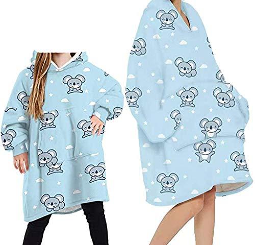 Übergroße Hoodie Sweatshirt Decke, Cartoon Tierdruck Sherpa tragbare Decke Warme gemütliche TV-Decke mit Ärmeln und Tasche für Erwachsene Männer Frauen Teenager
