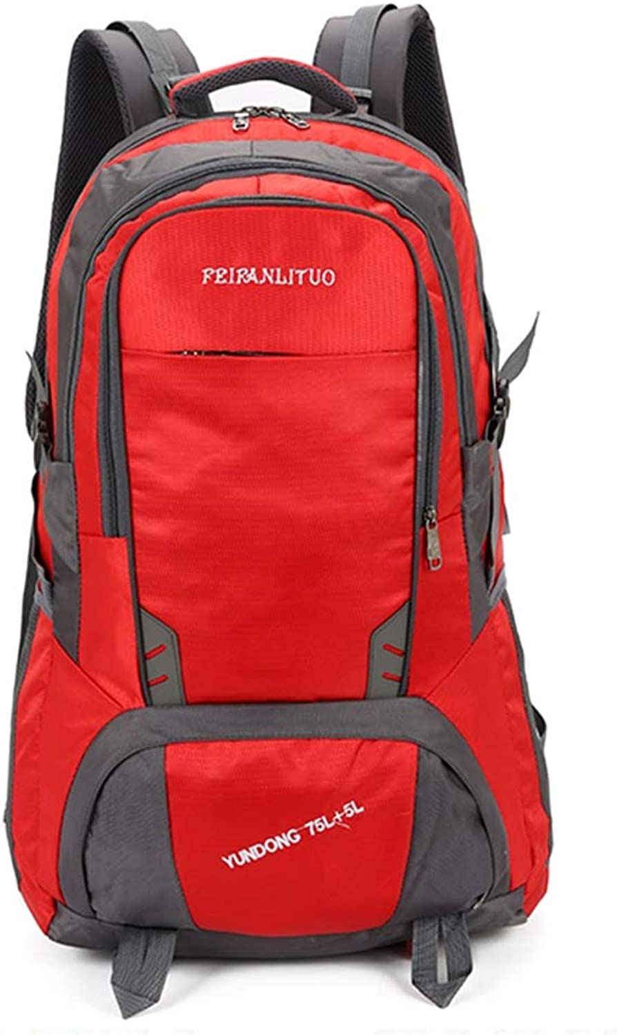 ALUS Coco 80L Casual Sports Backpack, UltraLight Folding, Breathable and SweatProof Professional Hiking Backpack, Large Capacity Men and Women Backpack (color   RED)