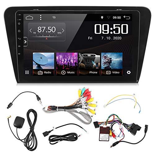 EBTOOLS Navegación GPS para automóvil, 10in 1080P HD Navegación GPS para automóvil Pantalla táctil Pantalla Bluetooth 5.0 Ajuste para Sko-da Octa-via 2015-2019