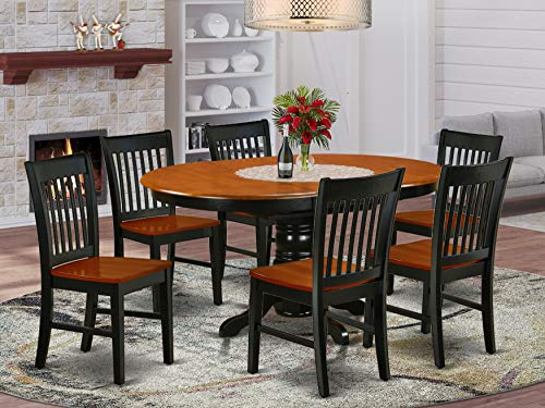 "7Pc Oval 42/60"" Family Table With 18 In Leaf And 6 Wood Seat Dining Chairs"