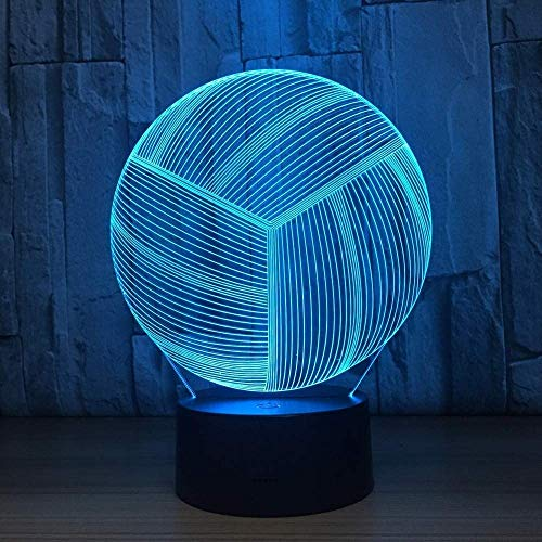 Lámpara LED USB 3D de voleibol, mando a distancia táctil, decoración 3D, lámpara de mesa LED dormitorio colorida como regalo