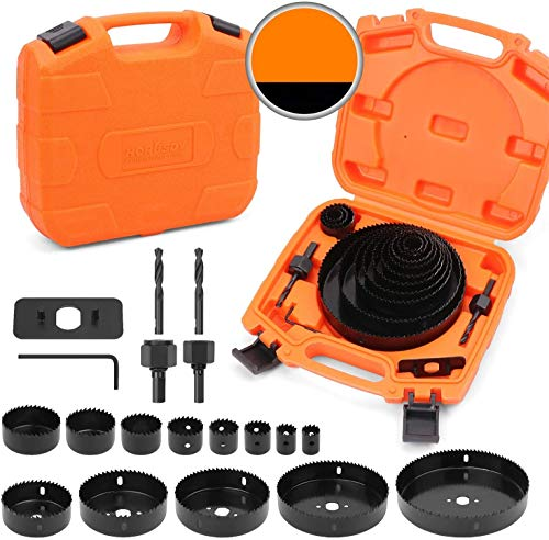"""HORUSDY Hole Saw Set, 19 Pcs Hole Saw Kit with 13Pcs Saw Blades 6""""(152mm) - 3/4"""" (19mm), Ideal for Soft Wood, PVC Board and More. (Hole Saw Sets)"""
