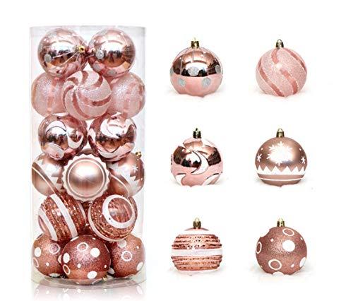 """Zinsale 6cm/2.36"""" 24pz Bagattelle per Alberi di Natale Sfere di plastica infrangibili Palle di Natale Decorazioni per Alberi Pendenti per Ornamenti Decorazioni per Feste (Oro Rosa)"""