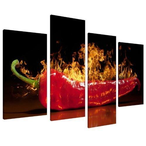 Grande Quadro su Tela da Cucina Red Chilli - Wall Art Quadri Stampe XL 130 cm 4132