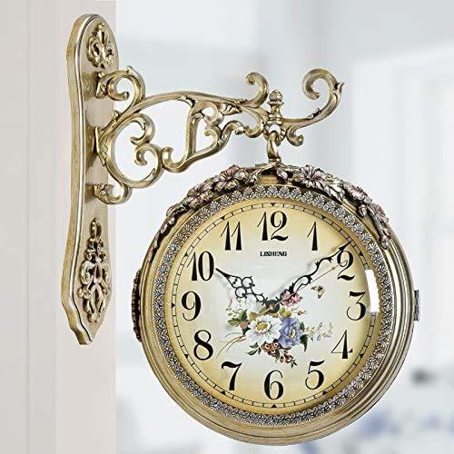 HIGHKAS Reloj silencioso Creativo Tipo de hogar Restauración Maneras Antiguas Reloj de Pared Reloj de Doble Cara Funciona con Pilas