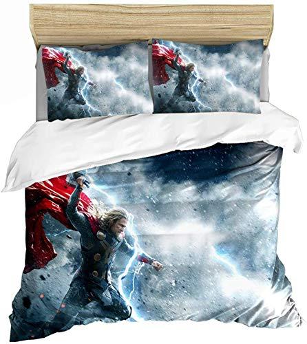 QWAS Juego de ropa de cama Avengers de la serie Marvel con impresión 3D de Iron Man Spiderman, juego de cama de 3 piezas (V01,135 x 200 cm + 50 x 75 cm x2)