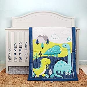 Orange Infinity 4 Piece Dinosaurs Crib Bedding Sets for Boys and Girls for Standard Size Crib | Nursery Baby Bedding Set of Crib Fitted Sheet, Crib Quilt, Dust Ruffle and Pillow Case