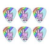 Pink Unicorn Floating on Cloud Rainbow Novelty Guitar Picks Medium Gauge - Set of 6