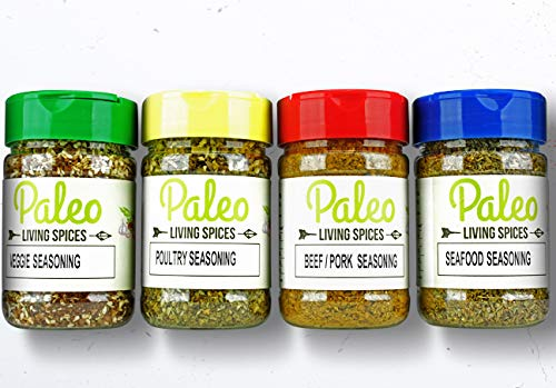 Paleo - Whole 30 - Keto - Spices by PALEO LIVING PRIMAL BLENDS Collection {4-Combo Pack Jars Seasonings Set} can be used for Cooking, Grilling, Baking, & with Cookbooks (Original Flavor)