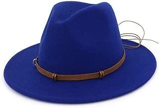 JAUROUXIYUJI Autumn Winter Sun Hat Women & Men's Fedora Hat Classical Wide Brim Felt Floppy Cloche Cap Imitation Wool Cap (Color : Blue, Size : 56-58)