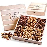 Bonnie & Pop- Nut Gift Basket, in Reusable Wooden Crate, Healthy Gift Option, Gourmet Snack Food Box, with Unique Flavors, Great for Christmas, Easter, Feel Better, Sympathy & Birthday