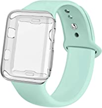jwacct Compatible for Apple Watch Band with Screen Protector 38mm 40mm 42mm 44mm, Soft Silicone Replacement Sport Band Compatible for Apple iWatch Series 1/2/3/4/5