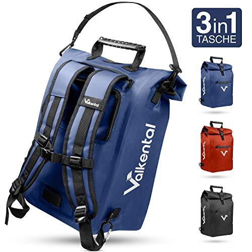 Valkental - 3in1 Fahrradtasche - Geeignet als Gepäckträgertasche, Rucksack und Umhängetasche - Wasserdicht & Reflektierend in Blau (20L)