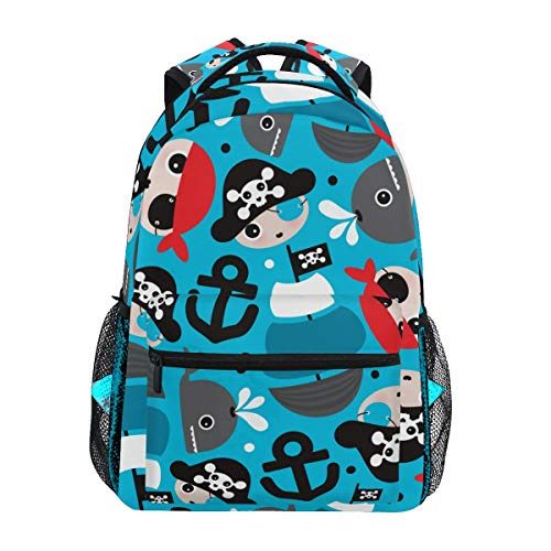 Jeansame mochila escolar bolsa de viaje para niños, niñas, mujeres, hombres, diseño de calavera pirata